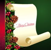 Christmas scroll with pinecone and holly Royalty Free Stock Photography