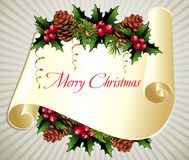 Christmas scroll with pinecone and holly. Pinecone scroll holly  leaf christmas  winter Royalty Free Stock Images