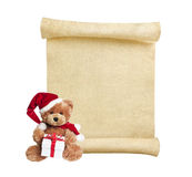 Christmas scroll with teddy bear Royalty Free Stock Photos