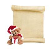 Christmas scroll with teddy bear royalty free stock photos
