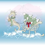CHRISTMAS SEA HORSE New Year Color Vector Illustration Set. For Birthday and Party, Wall Decorations, Scrapbooking, Baby Book, Photo Albums and Card Print stock illustration
