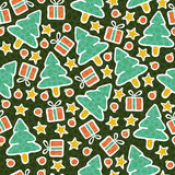 Christmas seamless. Seamless background texture on Christmas theme with Christmas tree, gift, star and bubble backdrop,  wallpaper pattern, eps10 transparency Royalty Free Illustration