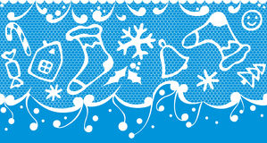 Christmas seamless background. Christmas seamless white lace on blue background Stock Photography