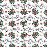 Christmas seamless background with bells and calligraphic element for design. vector illustration for New Year wrapping paper Royalty Free Stock Image