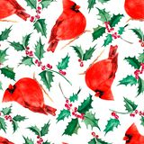 Christmas seamless background with cardinal birds and red Holly berries.