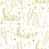 Christmas seamless background with champagne. Stock Image