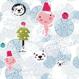 Christmas seamless background with cute baby boy. Stock Image