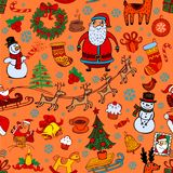 Christmas seamless background with doodle symbols Royalty Free Stock Photography