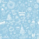 Christmas seamless background with doodle symbols Stock Images