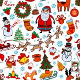 Christmas seamless background with doodle symbols Royalty Free Stock Image
