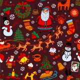 Christmas seamless background with doodle symbols Stock Photos