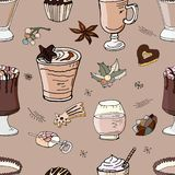 Seamless pattern with drinks stock illustration
