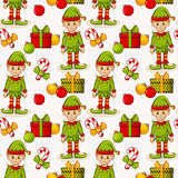 Christmas seamless background with elves. Vector pattern. Stock Photo