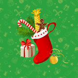 Christmas seamless background with gifts Royalty Free Stock Image