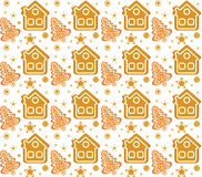Christmas seamless background with gingerbread house and cookie. Christmas background. Christmas seamless texture, wallpaper, fabr Stock Photos