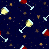 Christmas seamless background with golden stars and glasses with wine Stock Photography