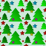 Christmas seamless background with green trees and. Colored stars for your design Royalty Free Stock Images
