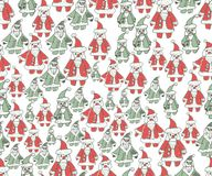 Christmas seamless background. Hand drawn pattern. Christmas seamless background. Hand drawn cute pattern Stock Images
