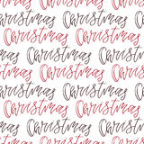 Christmas seamless background with handwritten text. Vector illustration for New Year wrapping paper or textile design. Stock Photography