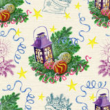 Christmas seamless background with lantern Stock Photo