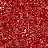 Christmas seamless background with many winter doodles Royalty Free Stock Images