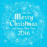 Christmas seamless background with many winter doodles Royalty Free Stock Image