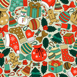 Christmas seamless background with many winter doodles. Royalty Free Stock Image