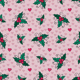 Christmas seamless background with mistletoe and hearts. Vector New Year wrapping paper Royalty Free Stock Photography