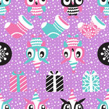 Christmas Seamless background with owls, socks and gift boxes Stock Image