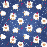 Christmas seamless background, party sheeps and stars Stock Photos