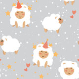 Christmas seamless background, party sheeps and stars Stock Image