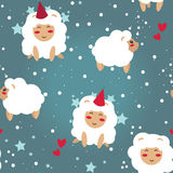 Christmas seamless background, party sheeps and stars Royalty Free Stock Image