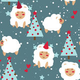 Christmas seamless background, party sheeps and stars Royalty Free Stock Photo