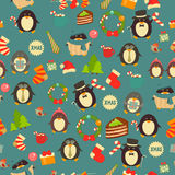 Christmas Seamless Background with Penguins Royalty Free Stock Image