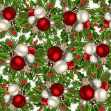 Christmas seamless background. Christmas seamless background with red and silver balls, fir-tree branches, cones, holly and mistletoe Stock Photography