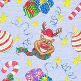 Christmas seamless background with reindeer and gifts Royalty Free Stock Photo