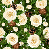 Christmas seamless background with roses, fir branches and holly. Vector illustration. Vector Christmas seamless background with white roses, fir branches Royalty Free Stock Images