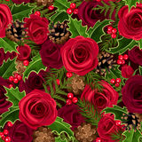 Christmas seamless background with roses and holly. Christmas seamless background with red roses, holly, fir branches and cones Stock Photos