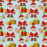 Christmas seamless background with Santa. Vector pattern. Stock Image