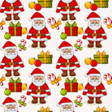 Christmas seamless background with Santa. Vector pattern. Royalty Free Stock Photos