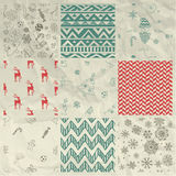 Christmas Seamless Background Set on Crumple Paper Royalty Free Stock Photos