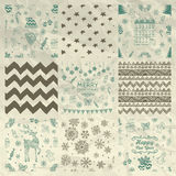 Christmas Seamless Background Set On Crumple Paper Royalty Free Stock Images