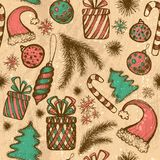 Christmas seamless background - sketched elements Stock Photos