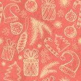 Christmas seamless background - sketched elements Royalty Free Stock Photo