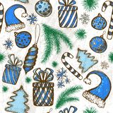 Christmas seamless background - sketched elements Royalty Free Stock Images