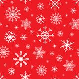 Christmas seamless background with snowflakes. Snowflake vector pattern on red background. Winter design Royalty Free Stock Photos