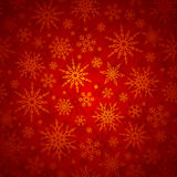 Christmas seamless background with snowflakes. Vector illustration. Vector seamless Christmas pattern with gold snowflakes on a red background Stock Photography