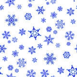Christmas seamless background with snowflakes. White Christmas seamless background with blue snowflakes royalty free illustration