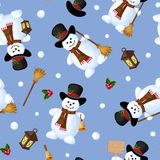 Christmas seamless background with snowmen. Vector illustration. Vector Christmas seamless background with snowmen on a blue background Stock Photo