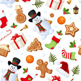 Christmas seamless background. Vector illustration. Vector Christmas seamless background with snowmen, socks, Santa hats, holly, boxes, cookies, oranges Royalty Free Stock Image